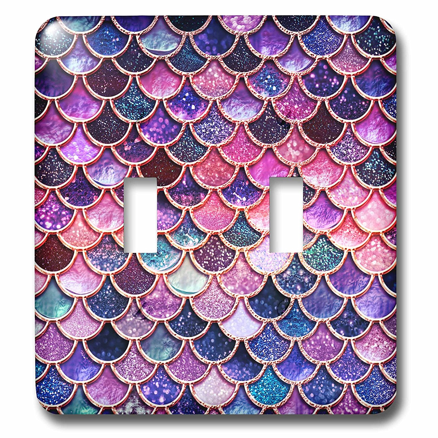 3dRose Uta Naumann Faux Glitter Pattern - Multicolor Girly Trend Pink Luxury Elegant Mermaid Scales Glitter - Light Switch Covers - double toggle switch (lsp_272859_2)