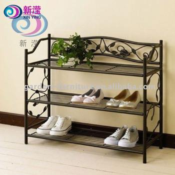 Home Organizer Stand Holder 3 tier free standing metal shoe rack & Home Organizer Stand Holder 3 Tier Free Standing Metal Shoe Rack ...