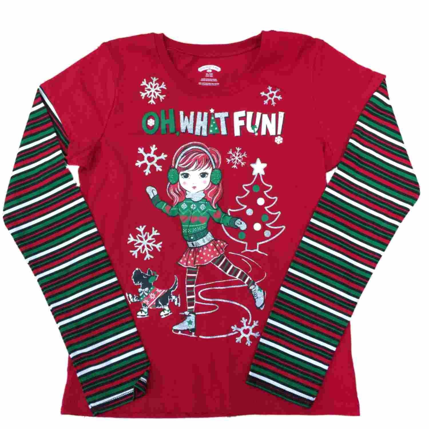 Holiday Catalog Girls Oh What Fun Girl   Puppy Shirt Long Sleeve Christmas Scottie  Dog T 7687fd2ec