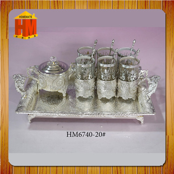 Silver plated tea cup sets vintage, iron tray turkish tea cup set gift manufacturer china