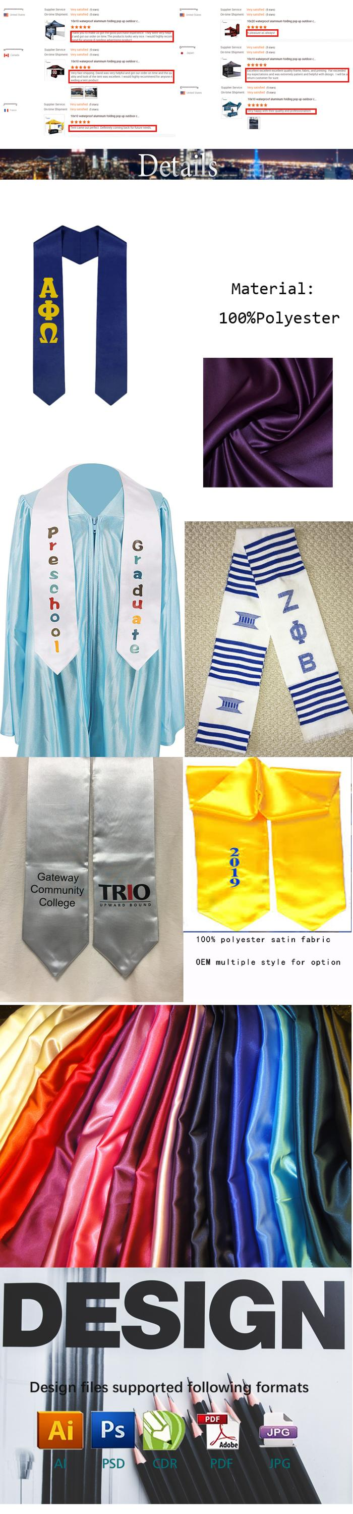 different college logo printed graduating wear satin embroi graduation stole graduation sash