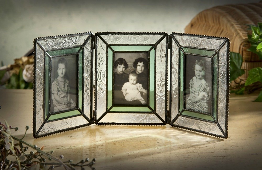 J Devlin Pic 122-3 Triple 2x3 Picture Frame Green Stained Glass Holds 3 Photos School Wallet