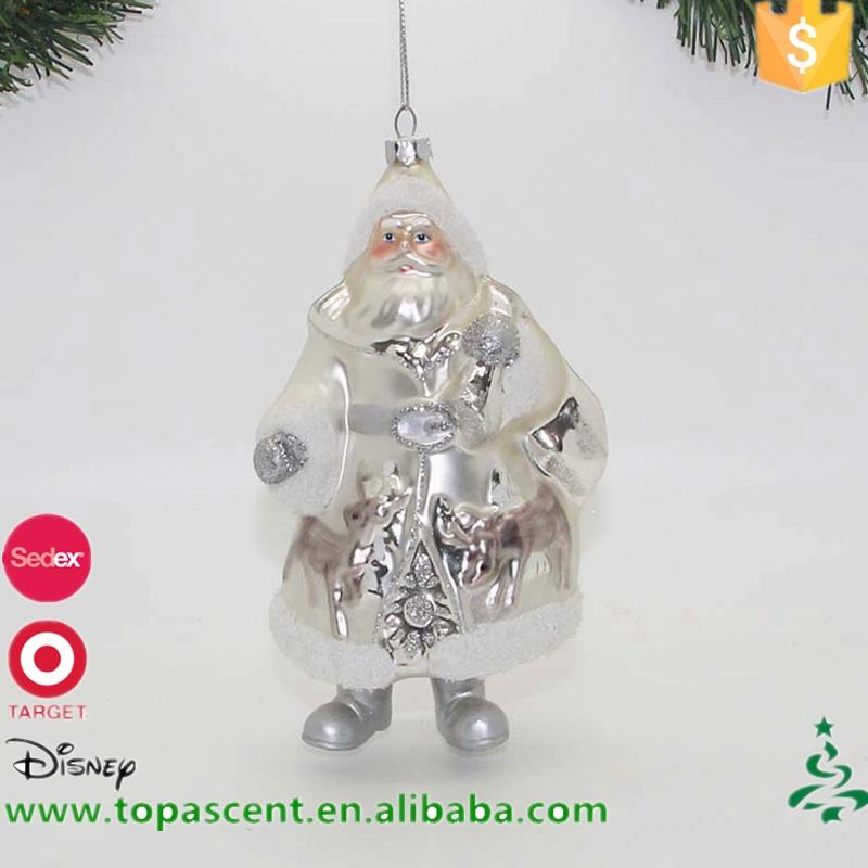 pintado a mano de cristal al por mayor de navidad de santa claus adornos colgantes