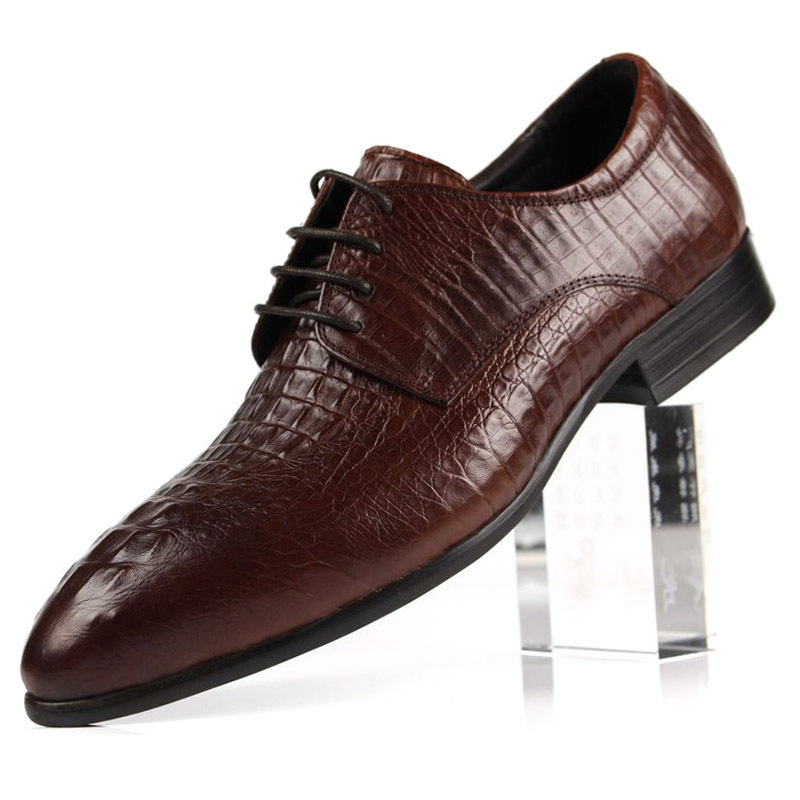 New 2015 Mens Shoes Oxfords top quality brown&black&yellow crocodile style cowhide genuine leather mens dress shoes size:38-44