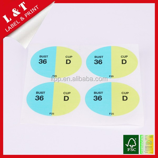OEM self adhesive sticker for bra size