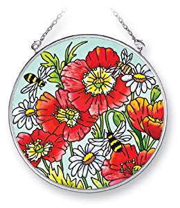 Amia Suncatcher Featuring Bees, Poppies and Daisies, Hand Painted Glass, 4-1/2-Inch Circle