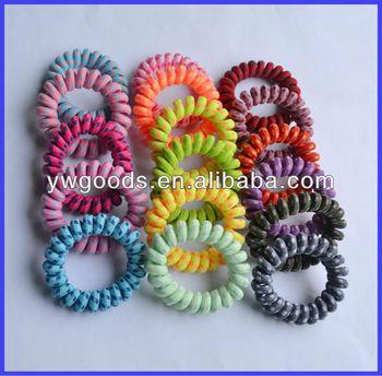 Fabric Covered Plastic Spiral Hair Ties   Bracelets - Buy Fabric ... 0ba77326f0f