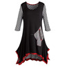 Flattering Fashionable Tunic Top 3/4 Length Sleeves Stylish Stripes Black And White Longline Shirt