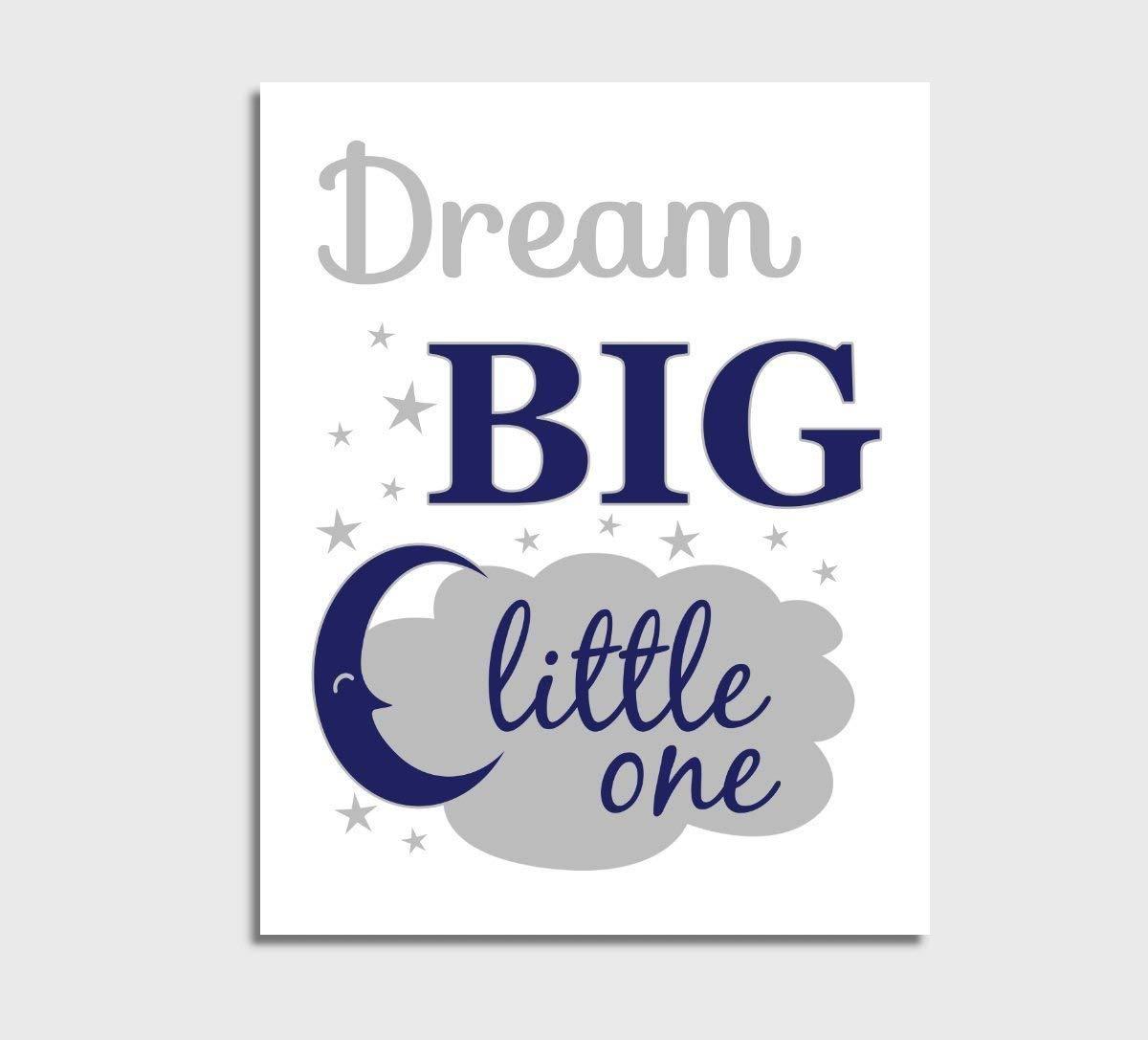 Navy Blue Canvas Baby Boy Nursery Wall Art Dream