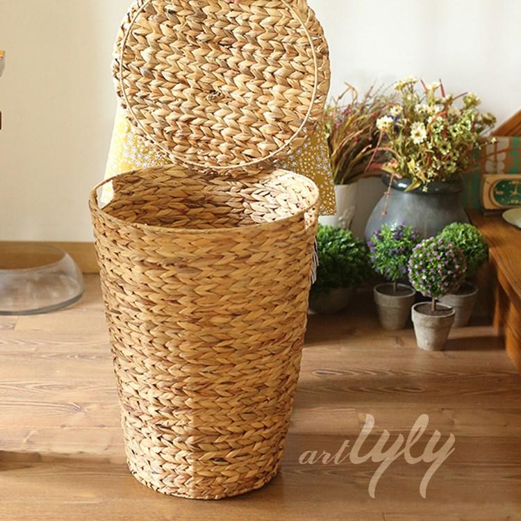 d coration de la maison ronde jacinthe d 39 eau panier de rangement avec couvercle panier de. Black Bedroom Furniture Sets. Home Design Ideas