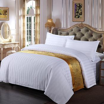 Great Cotton And Polycotton White Satin Stripe King Size 5 Star Hotel Bedding Set