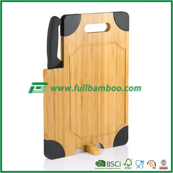 Creative bamboo cutting board with knife holder&rubber edge