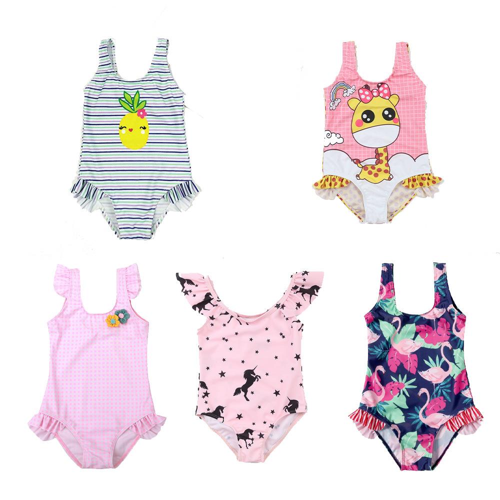 2019 China OEM Fashion Cartoon Flamingo Swimsuit Lovely Girl New Swimwear Suit Kids фото