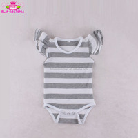 Heather grey stripe 100% cotton rompers wholesale kid clothes blank playsuit triple 3 layer flutters sleeveless romper