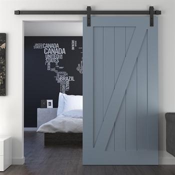 Craftsman Horizontal Single Panel Sliding Barn Door With Sliding