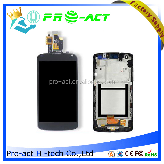 OEM wholesale LCD parts for LG Nexus 4 assembly, for LG Nexus 4 LCD Screen Digitizer Touch With Frame
