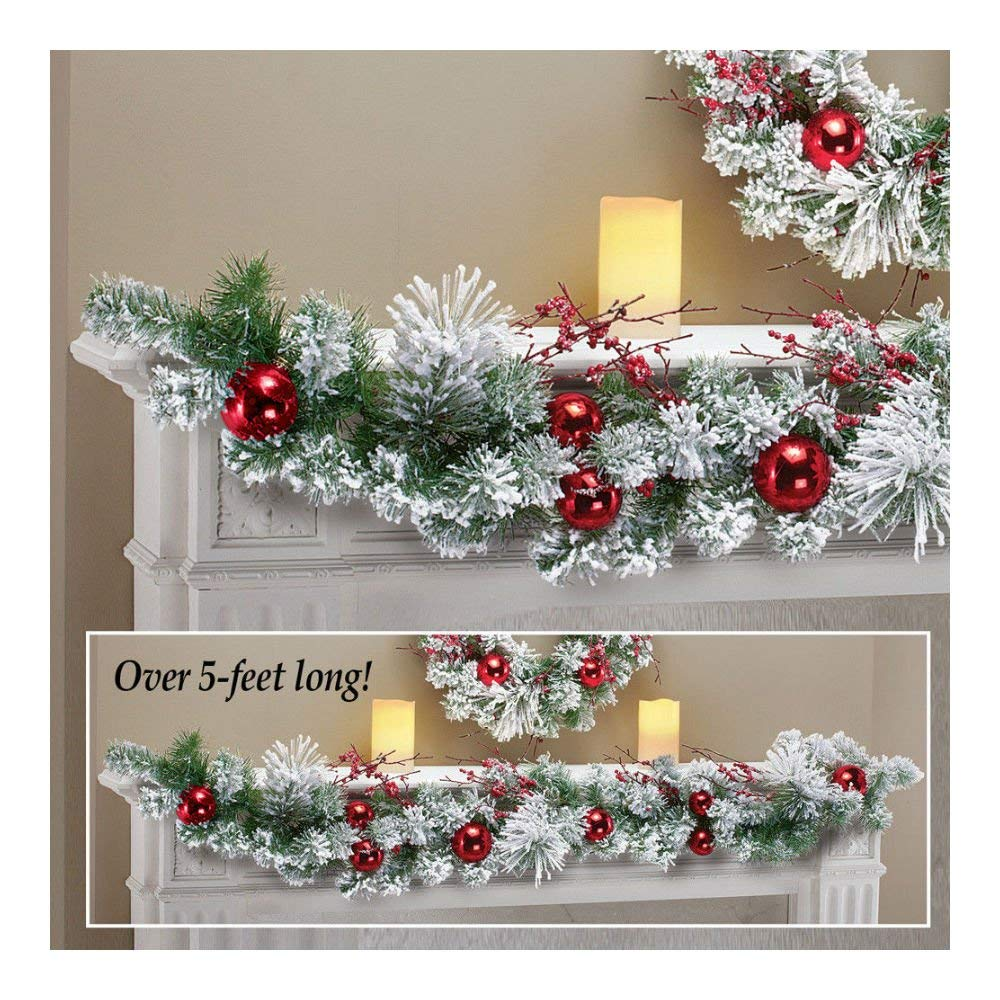 get quotations 5 ft snowy wintery pine red ornaments christmas garland - Where To Buy Cheap Christmas Decorations