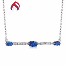 Good quality blue spinel fashionable necklace 925 sterling silver zircon jewelry