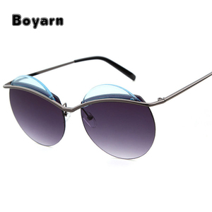 2017 steam punk Round Sunglasses Women rimless Men brand Metal Mirror Lenses UV400 custom your own SunGlasses For Women
