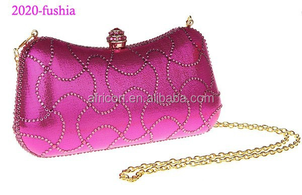 2020-fushia hard case crystal evening bag beads clutches bags women's handbag