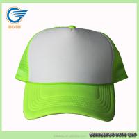 wholesale blank green 5 panel cap snapback foam mesh neon trucker hat