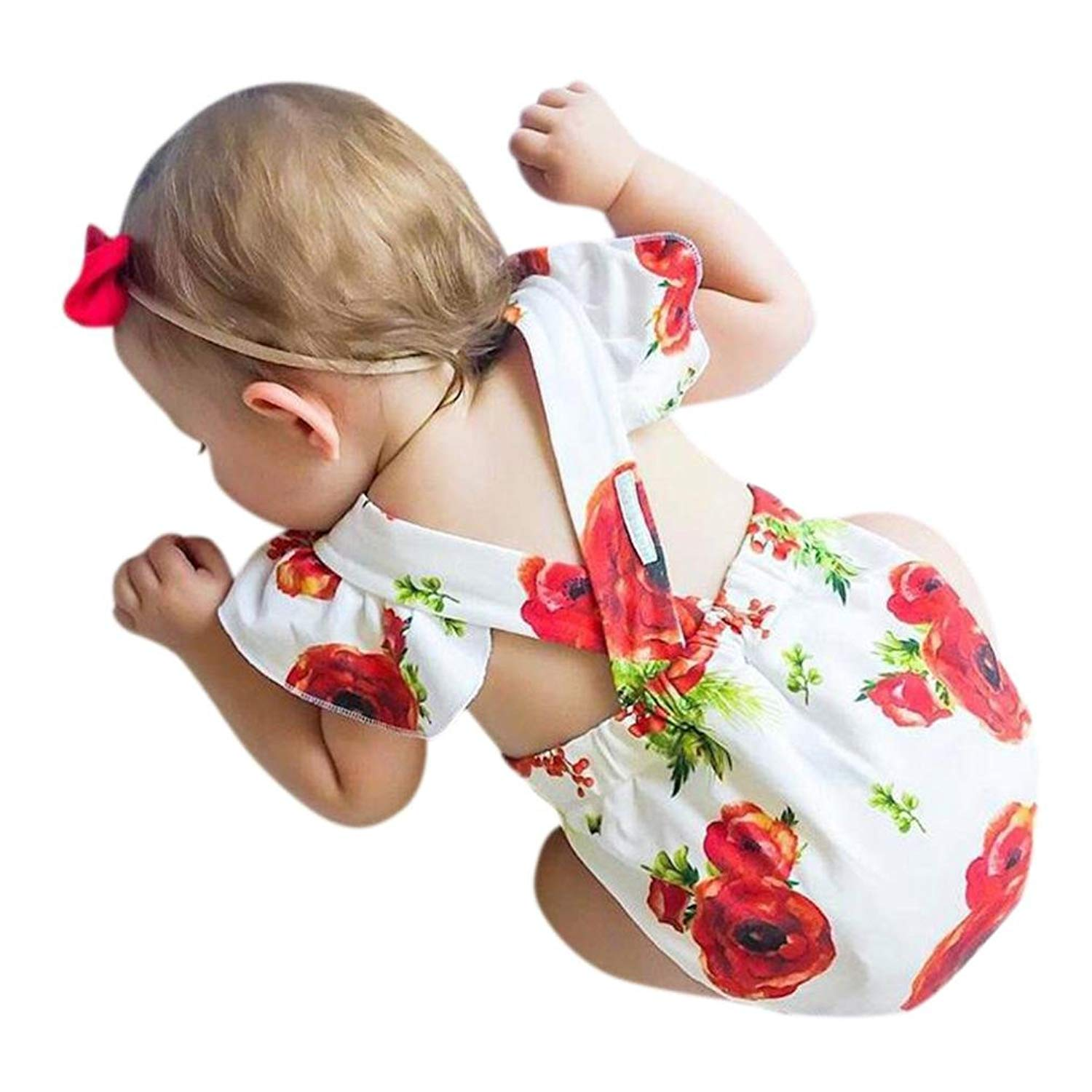 Ourhomer Baby Girls Dresses Toddler Summer Floral Print Girls Casual Beach Outfits Clothes Romper Jumpsuit