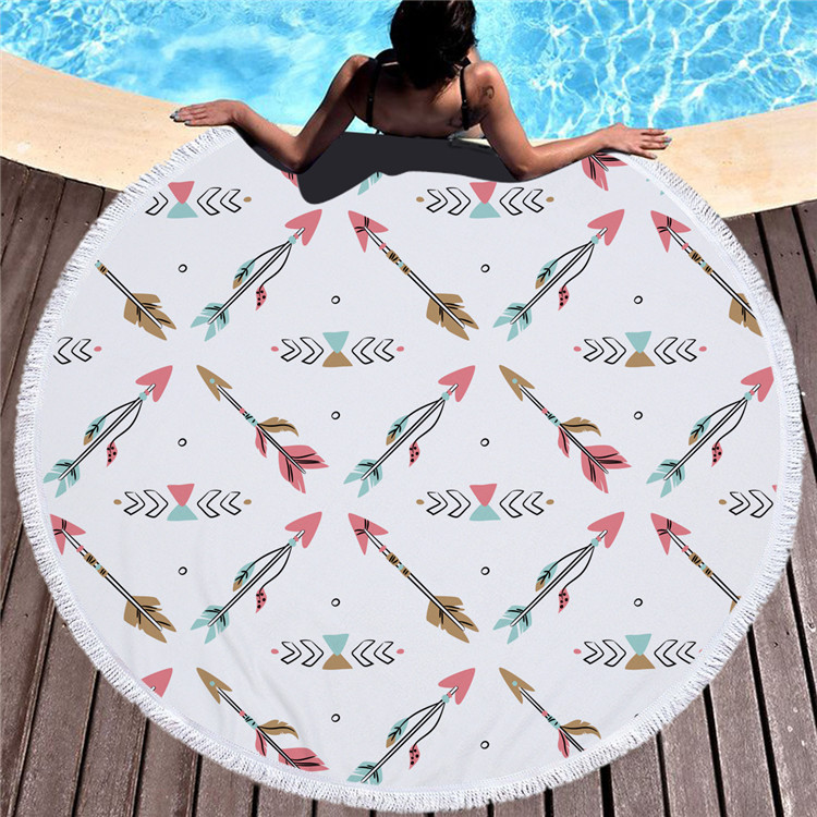 2018 hot selling custom large 100% <strong>cotton</strong> or microfiber flamingo or mandala round beach towel with tassel fringe