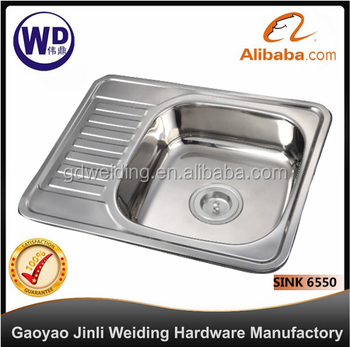 Stainless Steel Kitchen Bar Sink Topmount Single Bowl Water Tank Sink 6550  With Tray
