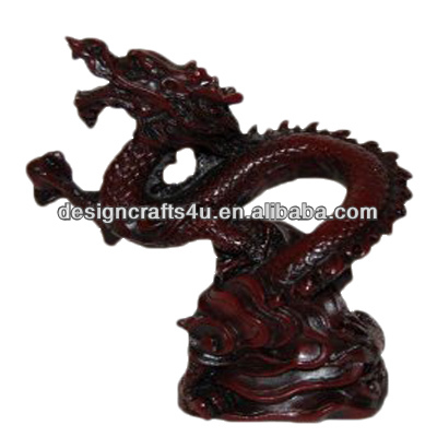 Hot Sale Red Resin Dragon Garden Statues