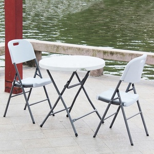 Round square outdoor dining small plastic folding table/foldable table