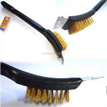 Barbeque BBQ Grill Brush Brass Bristles & Scraper Copper brush
