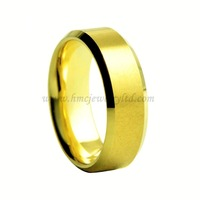 Center Brushed Gold Plated Tungsten Carbide Wedding Ring Without Stones