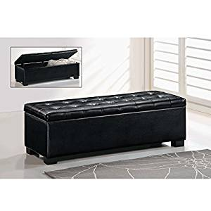 Baxton Studio Sierra Bonded Leather Bench Storage Ottoman