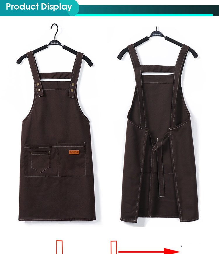 Adjustable Bib Apron Thicker Version Waterdrop Resistant with 2 Pockets Cooking Kitchen Aprons