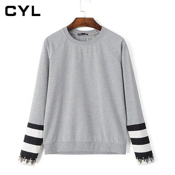 HOT 2015 fashion casual sweatshirts o-neck long sleeve brief sweatshirts fashion style simple women's pretty Sweatshirts