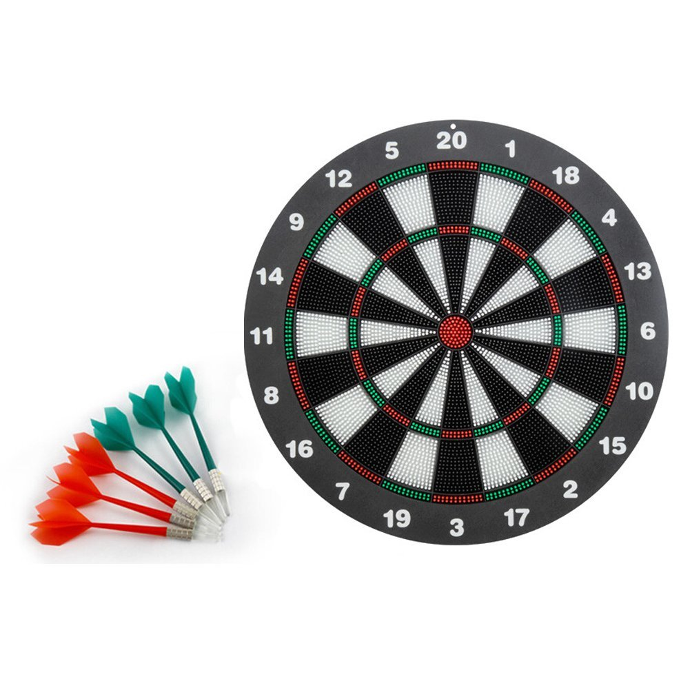 Amnzone Soft Tip Safety Darts(3 red & 3 green) and Dart Board - Great Games Specially Designed for Kids