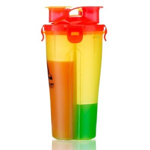 2 in 1 Double Neck Double Side Plastic Water Cup Dual Shaker