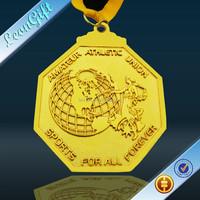 Gold sport medallion, custom design plating metal medals for sale