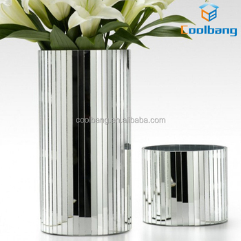 Cheap Wedding Tall Silver Mirrored Glass Cylinder Vases Wholesale