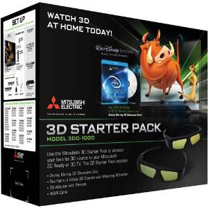 MITSUBISHI DLP TV 3DC-1000 or Samsung 3DA1 kit complete with 4 NEW Glasses(option for 2 in size for young kids), emitter, remote, NEW HDMI cable, NEW 3D bluray, manuals (refurbished as no longer made but perfect clean and complete)