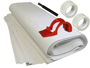 Packing Supplies Kit - Includes: 88 Sheets Packing Paper, Tape Dispenser - 2 Rolls Of Tape - Black Marker - Brand: Cheap Cheap Moving Boxes