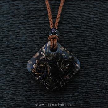 Collar colgante de cristal de muranosolo cuadrado de piedra de la collar colgante de cristal de murano solo cuadrado de piedra de la joyera del collar aloadofball Choice Image