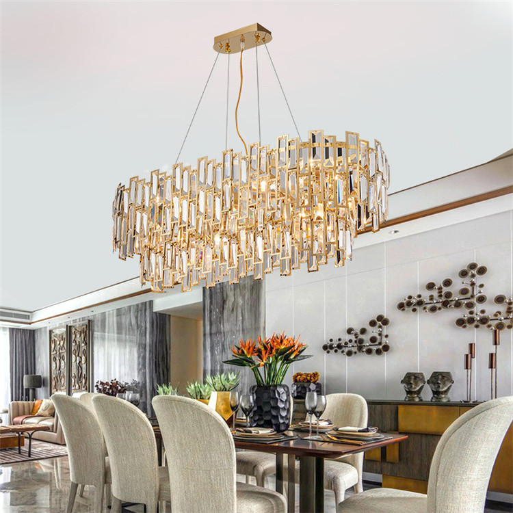 Contemporary Clear Crystal Suspend Long Plate Chandelier E12 110V Golden Finish Interior Decor Pendant Lamp