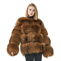 Garment Factory Wholesale Woman Jacket / Hot Selling New Real Raccoon Fur Coats and Jackets Woman Winter Wear