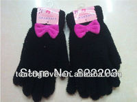 woolen bowknot gloves warm outdoor winter clothes for kids