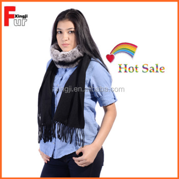 Lady scarf thick 100% cashmere with real fur scarf