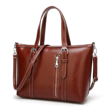 Whole New Model Fashion Crossbody Brown Oil Leather Handbag Manufacturers China Shoulder Bags