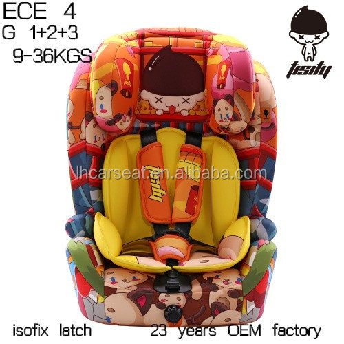 child car seat with E-mark certification for group 1+2+3