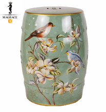"Antique 18"" height Chinese bird color-painting drum garden ceramic stool"