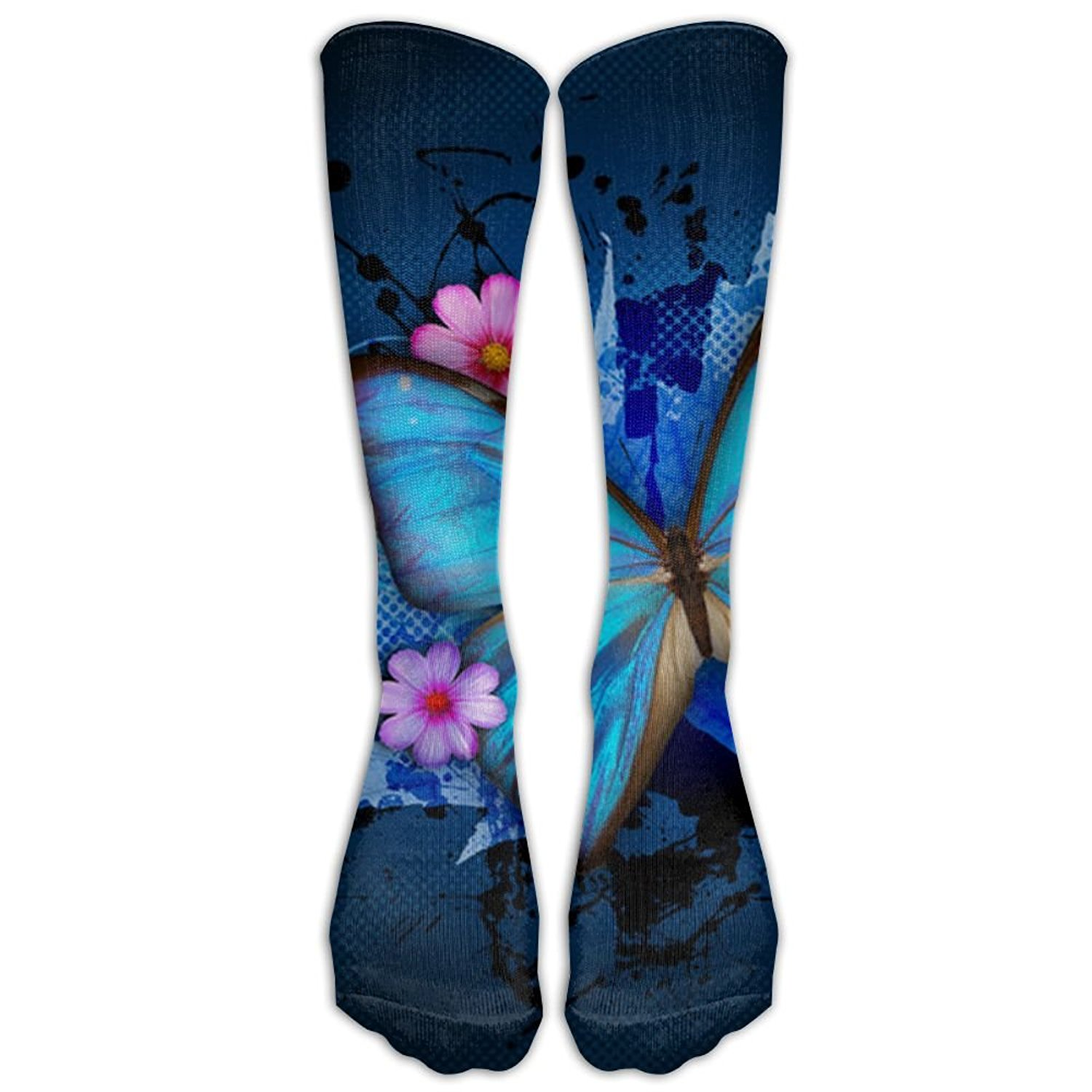 aef6727efbb Get Quotations · Blue Butterfly Flower Crazy Knee High Socks Running Crew Socks  For Girl